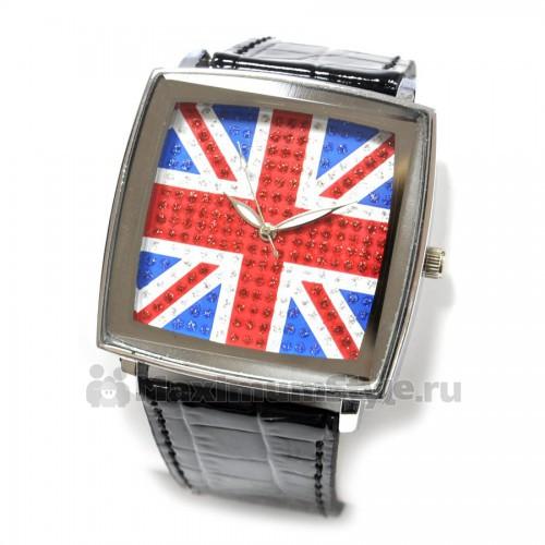 """Часы наручные """"Британский флаг -2"""" (black)"""