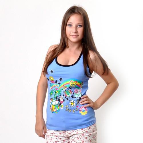 "Майка-борцовка женская ""Love Summer"" (blue)"