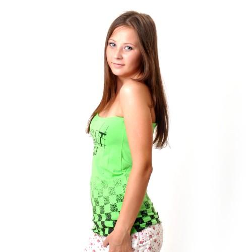 """Майка женская """"Famous Magnat"""" одно плечо (green)"""