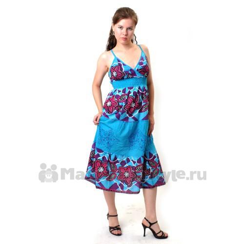Сарафан длинный, летний (ir-blue)