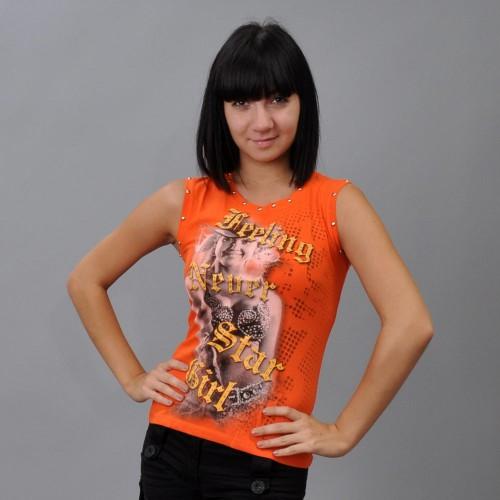 """Майка женская """"Star Girl"""" (orange)"""