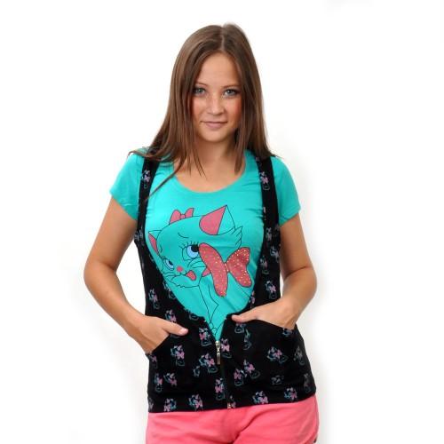 """Комплект: футболка+жилетка """"Киска с бантиком"""" (turquoise)"""