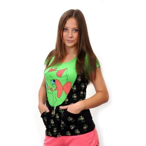 """Комплект: футболка+жилетка """"Киска с бантиком"""" (green)"""