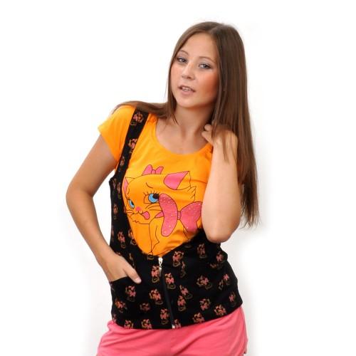 "Комплект: футболка+жилетка ""Киска с бантиком"" (orange)"