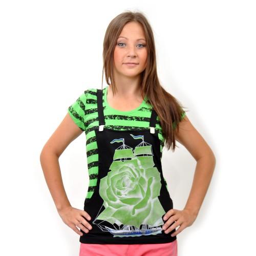 "Комплект: футболка и жилет-подтяжки ""Парусник"" (green)"