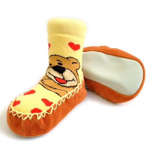 """Носки детские на подошве """"Мишка"""" (yellow)"""