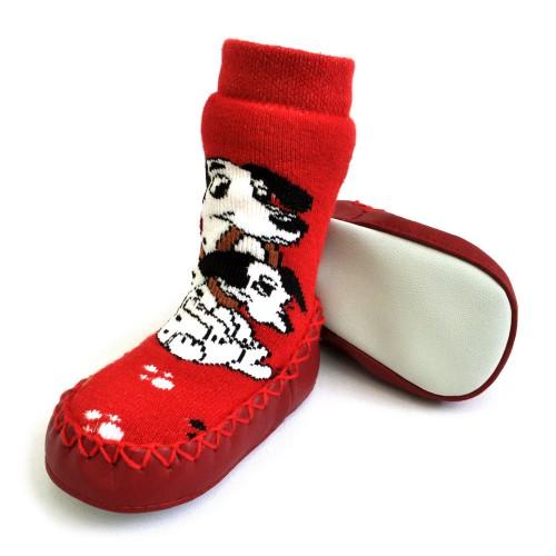 """Носки детские на подошве """"Далматинцы"""" (red)"""