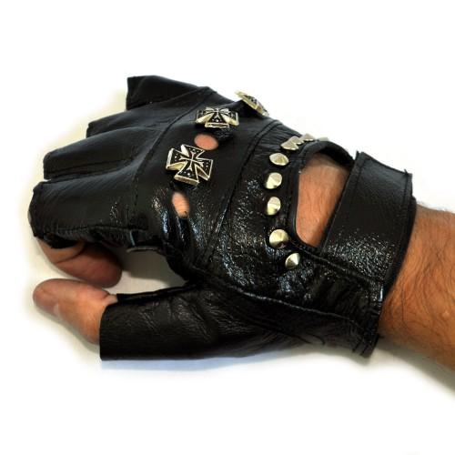 """Перчатки без пальцев кожаные """"Кресты и клепки"""""""