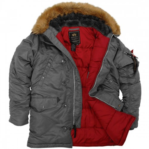 """Куртка-аляска """"Alpha Industries"""", классическая, зауженная (gun metal/red)"""