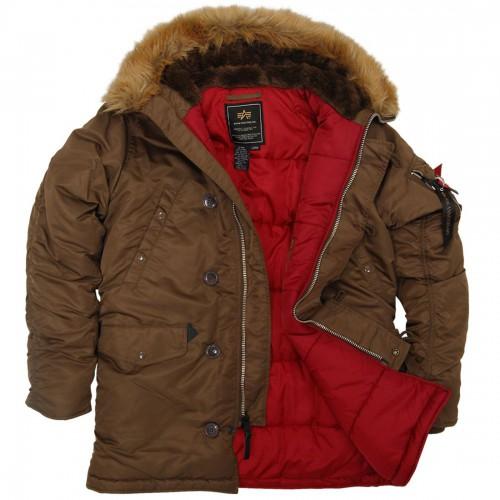 "Куртка-аляска ""Alpha Industries"", классическая, зауженная (deep brown/red)"
