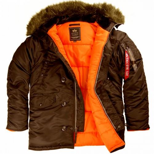 """Куртка-аляска """"Alpha Industries"""", классическая, зауженная (deep brown/orange)"""