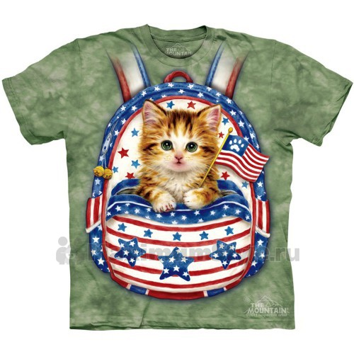 "Футболка ""Patriotic Backpack Kitten"" (США)"