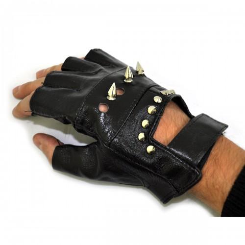 """Перчатки без пальцев кожаные """"Шипы и клепки"""""""