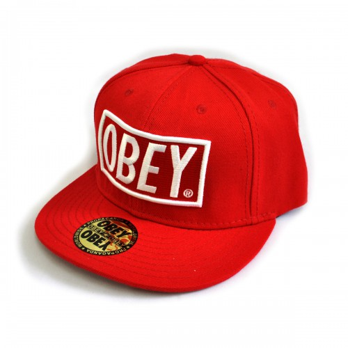 "Бейсболка рэперская ""OBEY"" (Classic, red)"