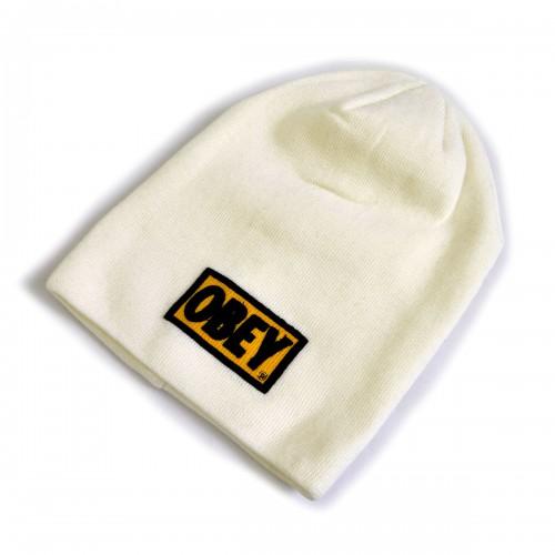 """Шапка вязаная """"OBEY"""" (white & yellow)"""