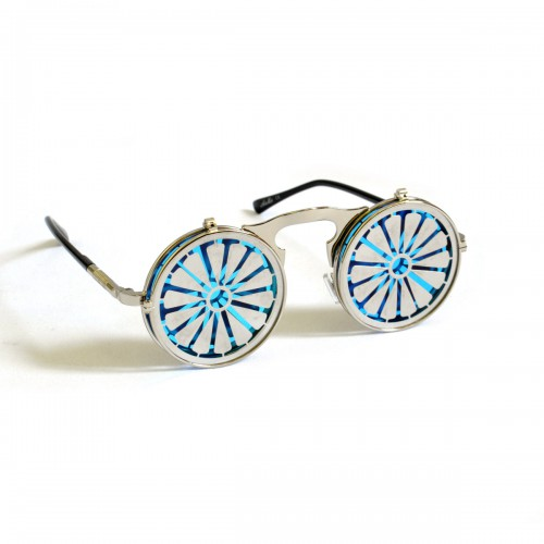 """Очки круглые, зеркальные, с крышками """"Узор"""""""
