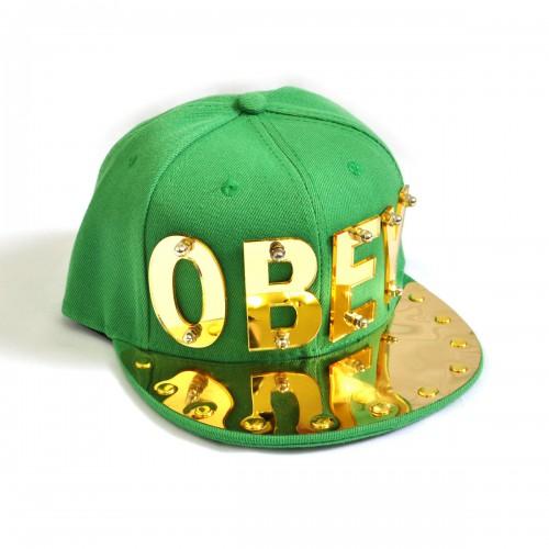 """Бейсболка 3D """"OBEY"""", золото (green)"""