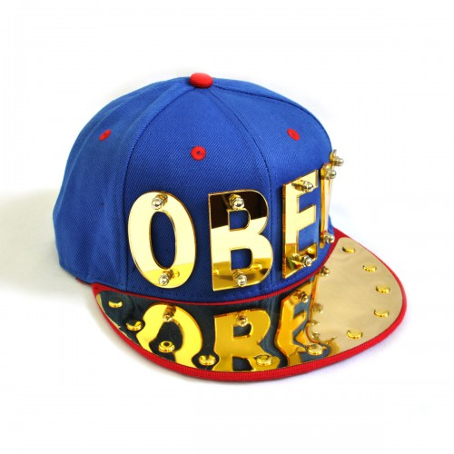 """Бейсболка 3D """"OBEY"""", золото (blue & red)"""