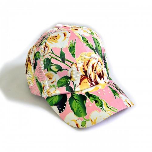 """Бейсболка женская со стразами """"Розы"""", сетка (pink)"""