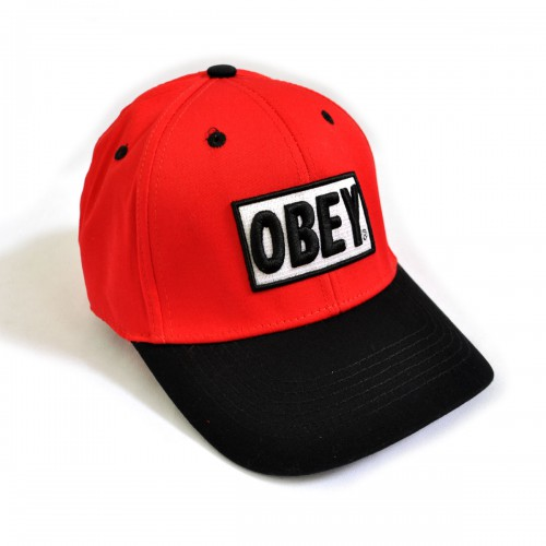 "Бейсболка ""OBEY"" (red & black)"