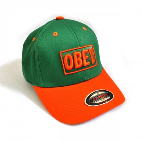 """Бейсболка """"OBEY"""" (green & orange)"""