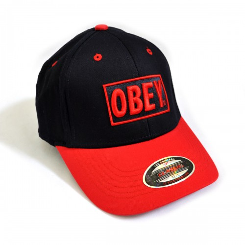 "Бейсболка ""OBEY"" (black & red))"