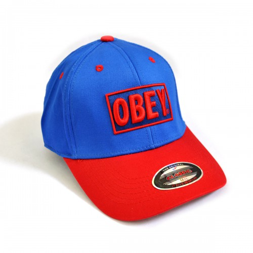"Бейсболка ""OBEY"" (blue & red)"