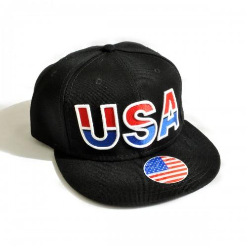 """Кепка с прямым козырьком """"USA"""" (black & black)"""