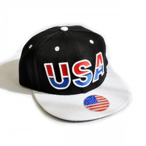 "Кепка с прямым козырьком ""USA"" (black & white)"