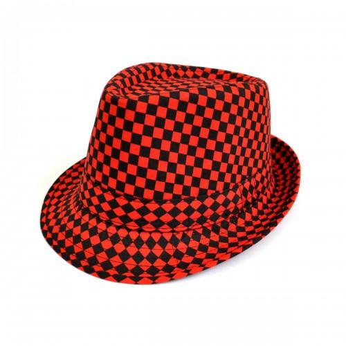 "Шляпа женская ""Клетка"" (red)"
