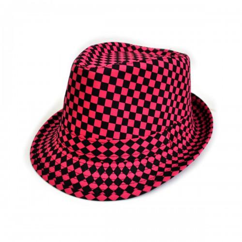 """Шляпа женская """"Клетка"""" (crimson)"""