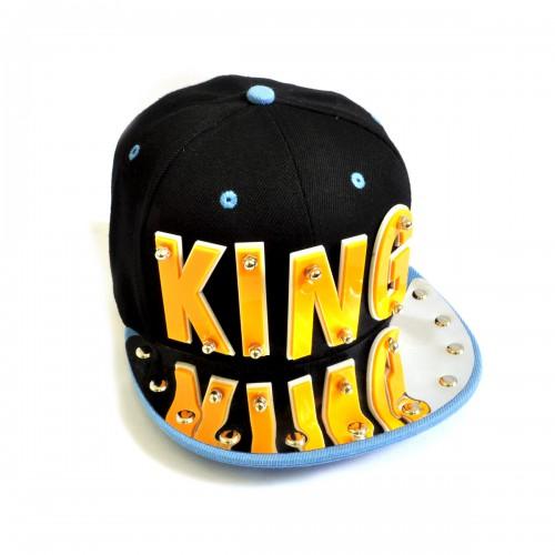 "Бейсболка 3D ""KING"" (black & l-blue)"