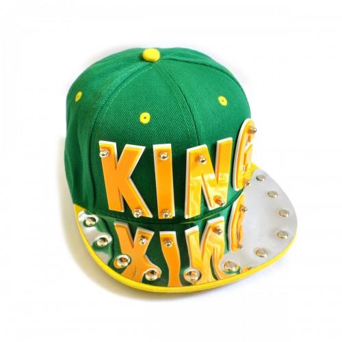 "Бейсболка 3D ""KING"" (green & yellow)"