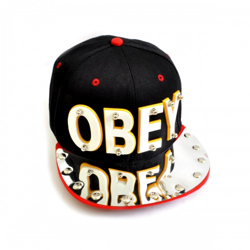 "Бейсболка 3D ""OBEY"" (black & red)"