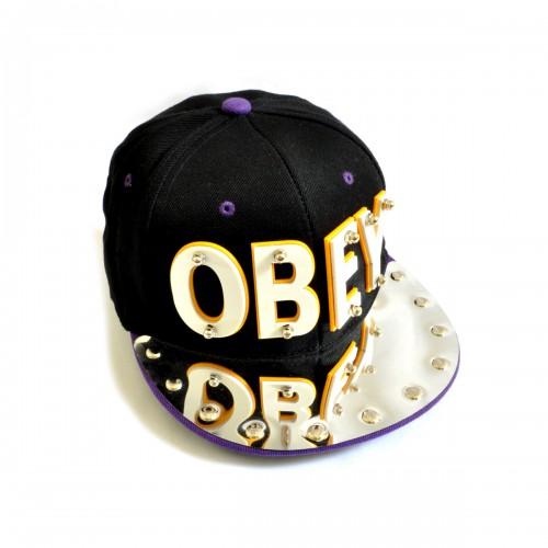 "Бейсболка 3D ""OBEY"" (black & violet)"