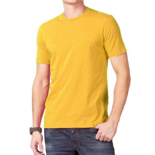 Футболка однотонная, классическая, цвет желтый