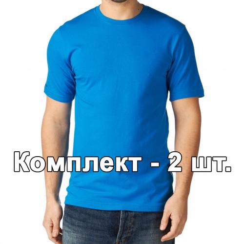 Комплект, 2 однотонные классические футболки, цвет голубой