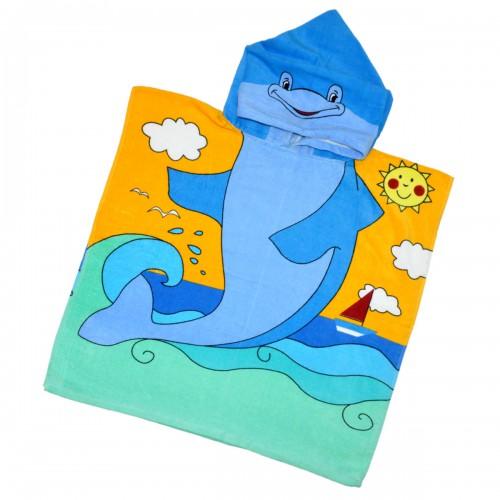 """Детская махровая накидка с капюшоном """"Дельфин"""""""