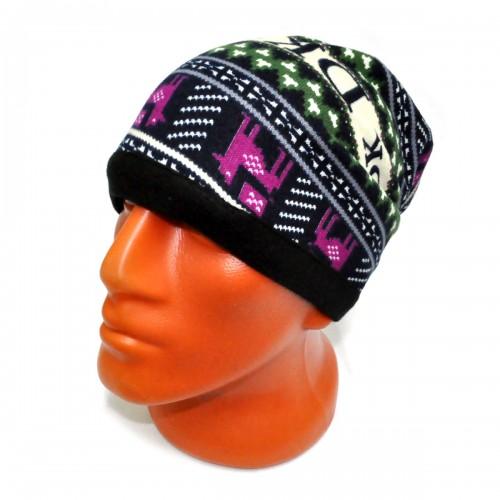 Шапка-шарф флисовый с орнаментом -07