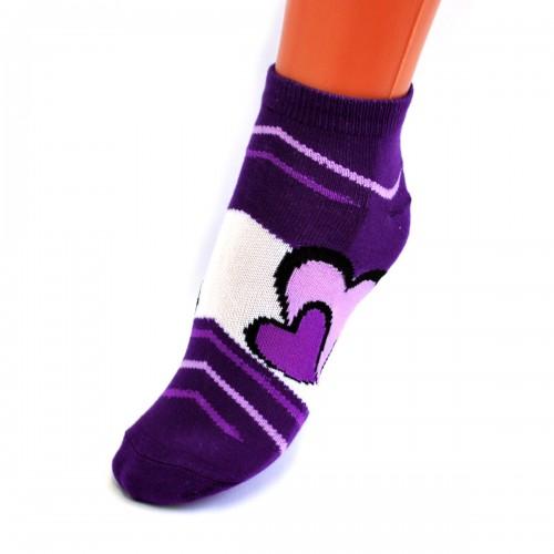"Носки женские, фитнесс ""Два сердца"" (purple) -09"