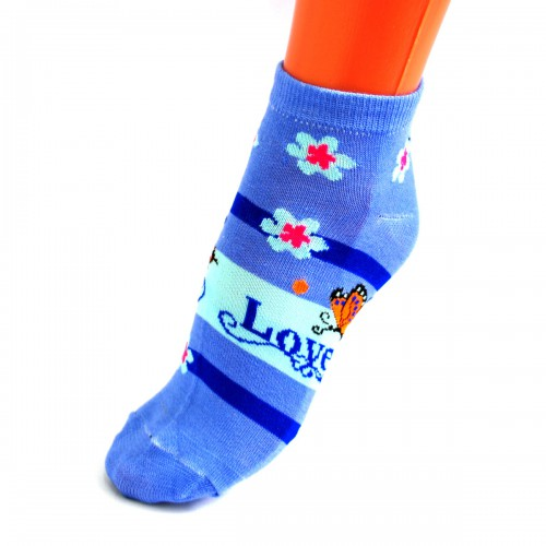 "Носки женские, фитнесс ""Бабочка"" (blue) -07"