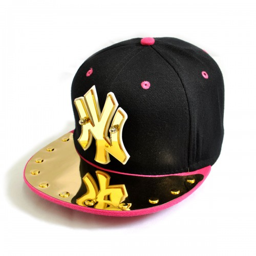 "Бейсболка 3D ""NY"", золото (black & pink)"
