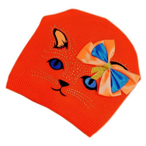 """Шапка подростковая женская """"Кошка с бантиком"""" (ярко-оранжевый) -02"""
