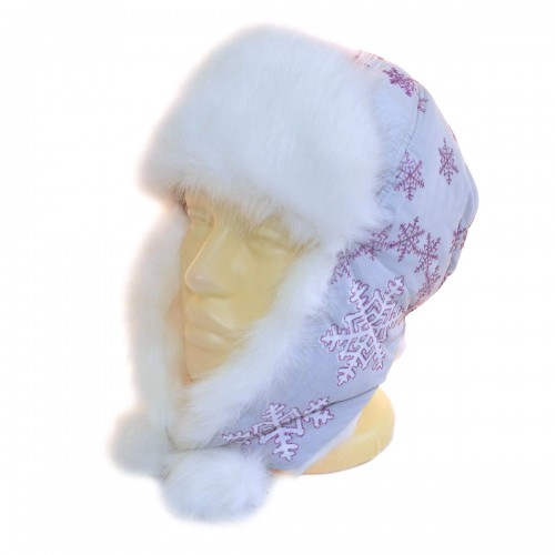 """Шапка-ушанка подростковая """"Снежинка"""" (серый)"""