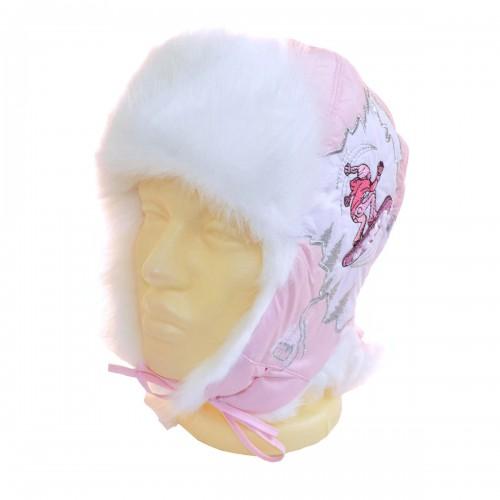 """Шапка-ушанка подростковая """"На сноуборде"""" (нежно-розовый)"""