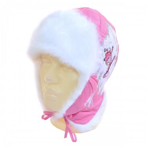 """Шапка-ушанка подростковая """"На сноуборде"""" (розовый)"""