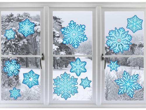 """Наклейка на стену """"Синие снежинки"""""""