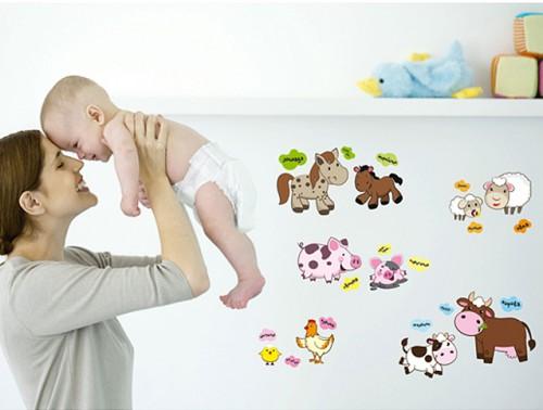 """Наклейка на стену """"Детеныши животных"""""""