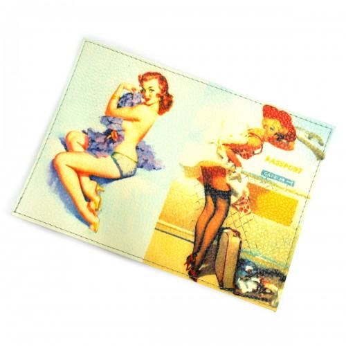 """Обложка для паспорта """"Девушки ретро"""" -01"""