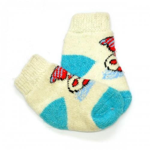 """Носки детские, вязаные, шерстяные """"Снеговик""""-01"""